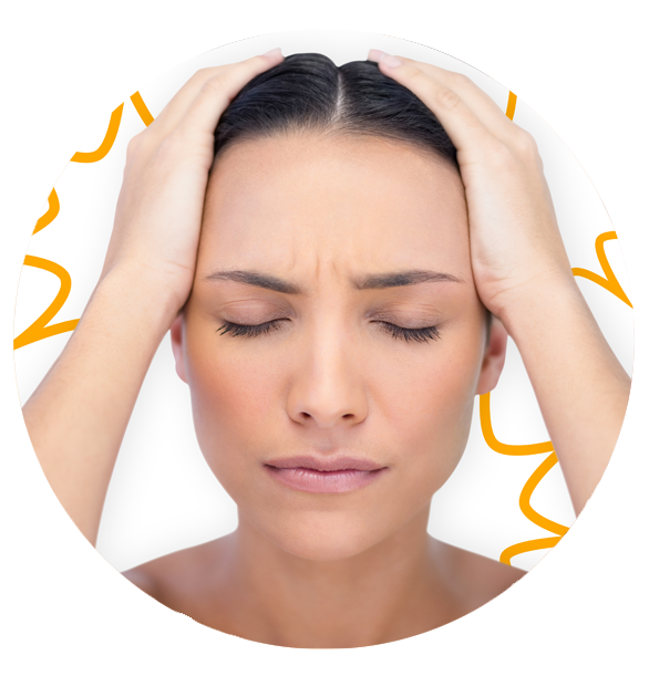 a woman with migraine pain